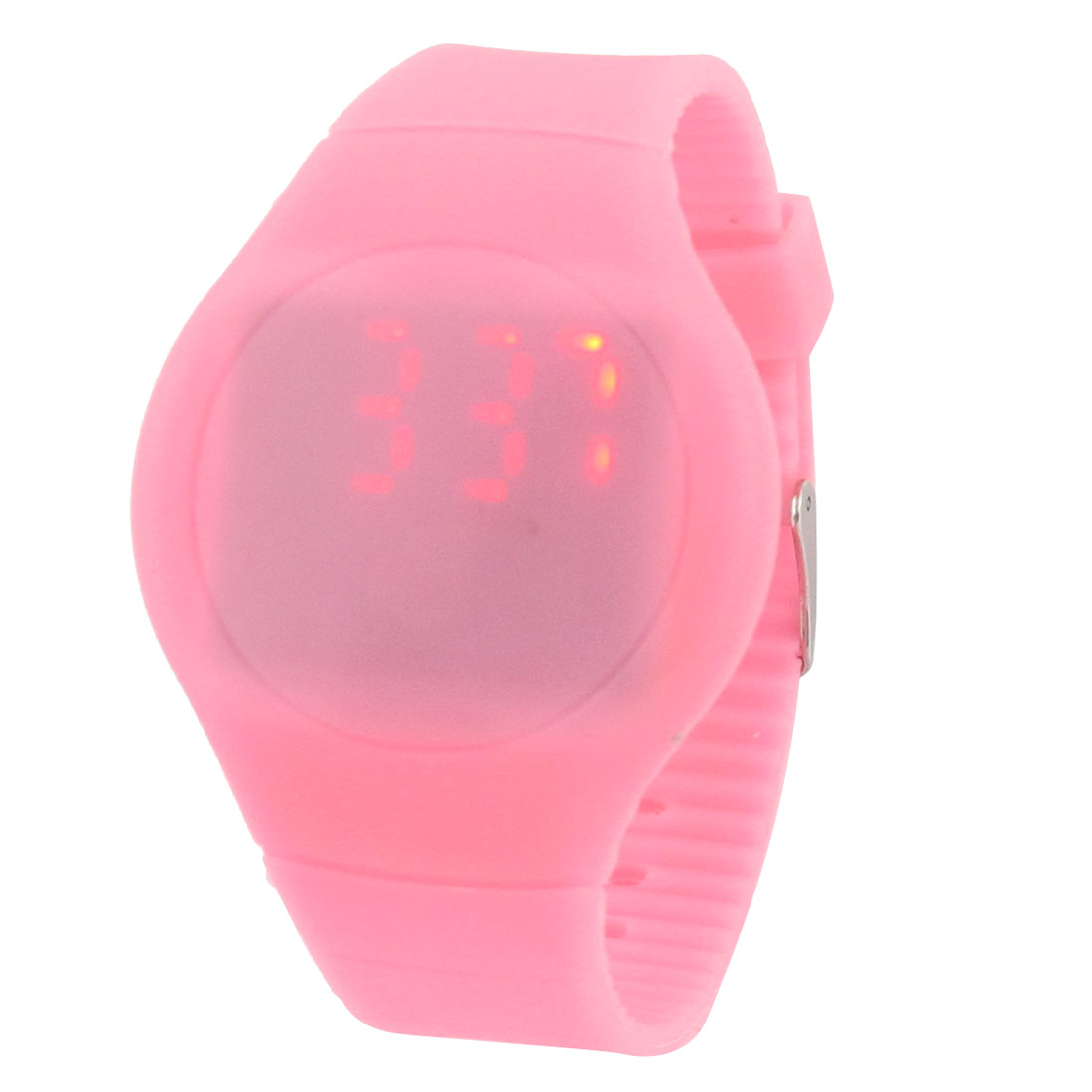 Women Pink Round Dial Hour Minute Display Touch Screen Red LED Watch