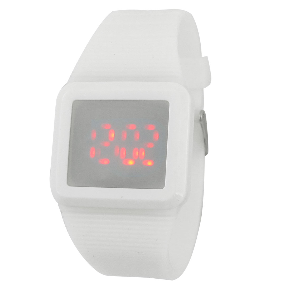 Women Striped Band Hours Minute Display Touch Screen Red LED Watch White