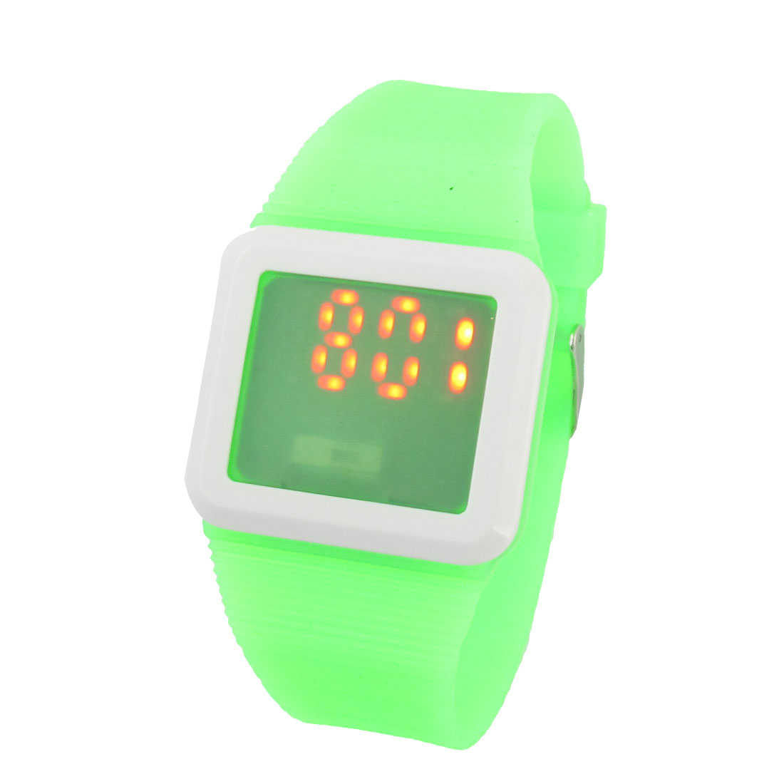 Green 11 Holes Adjustable Wrist Touch Screen Red LED Watch for Women