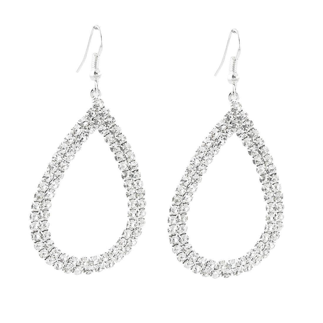Pair Silver Tone Rhinestones Inlaid Raindrop Pendant Hook Earrings for Lady