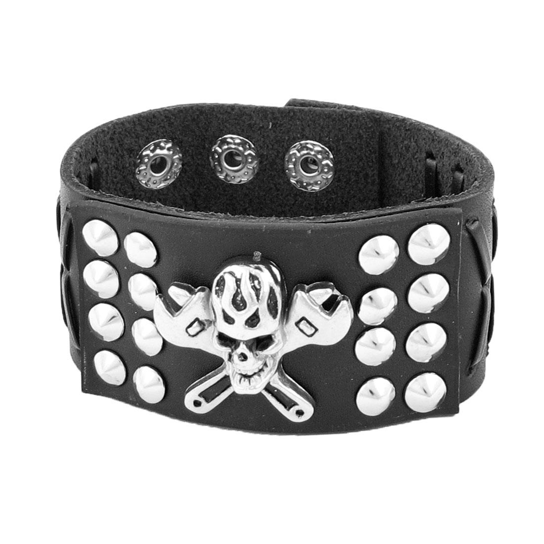 Black Punk Rivet Skull Ornament Faux Leather Bangle Bracelet Chain