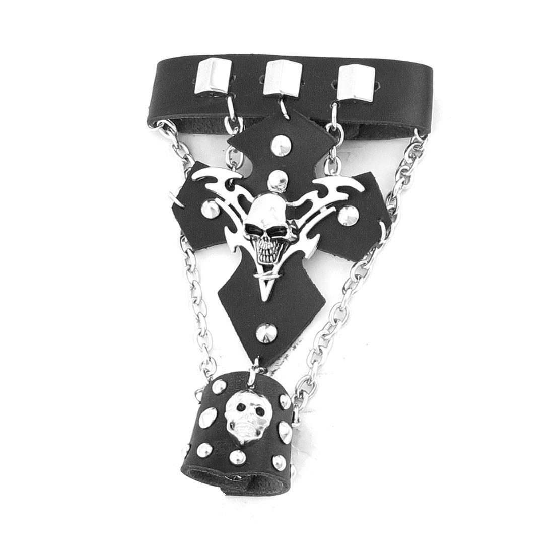 Black Skull Punk Stud Detail Faux Leather Finger Ring Bracelet Bangle Chain