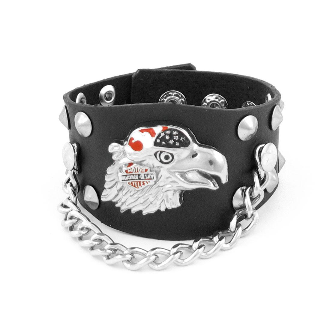 Men Women Punk Rivet Eagle Head Decor Faux Leather Bracelet Bangle Black