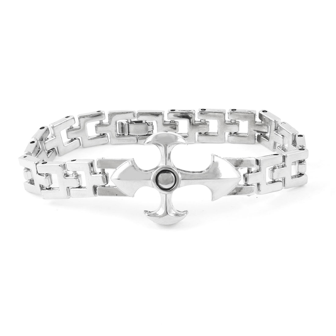 Men Silver Tone Cross Shape Decoration Wrist Chain Bracelet