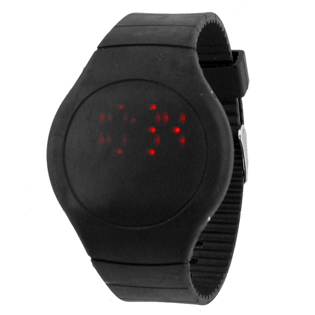 Ladies Black Single Pin Buckle Digital Display Touch Screen Red LED Watch