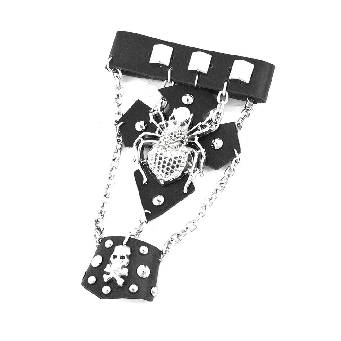 Black Spider Skull Detail Faux Leather Finger Ring Bracelet Bangle Chain