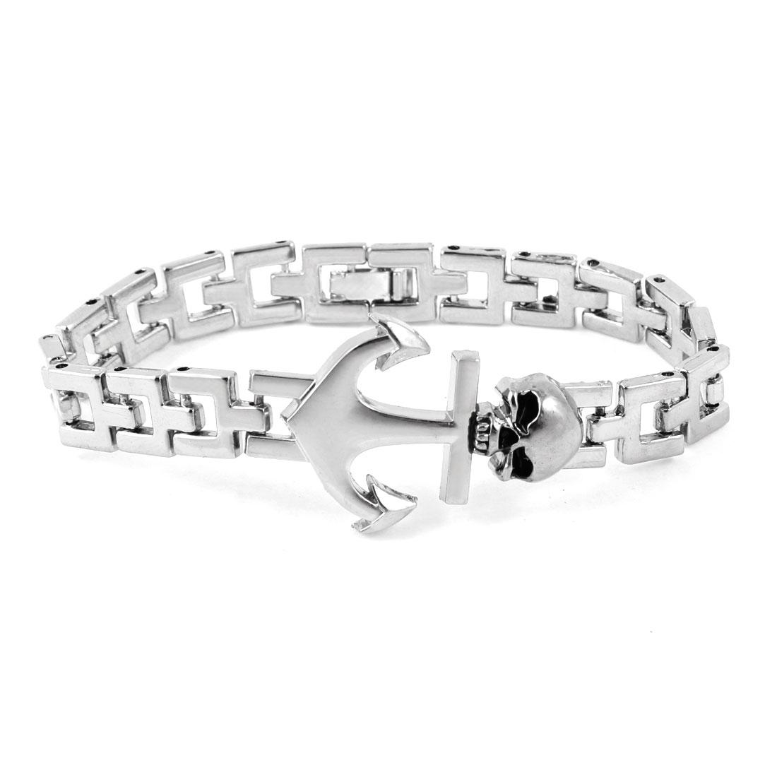Men Silver Tone Devil Shape Decoration Wrist Chain Bracelet
