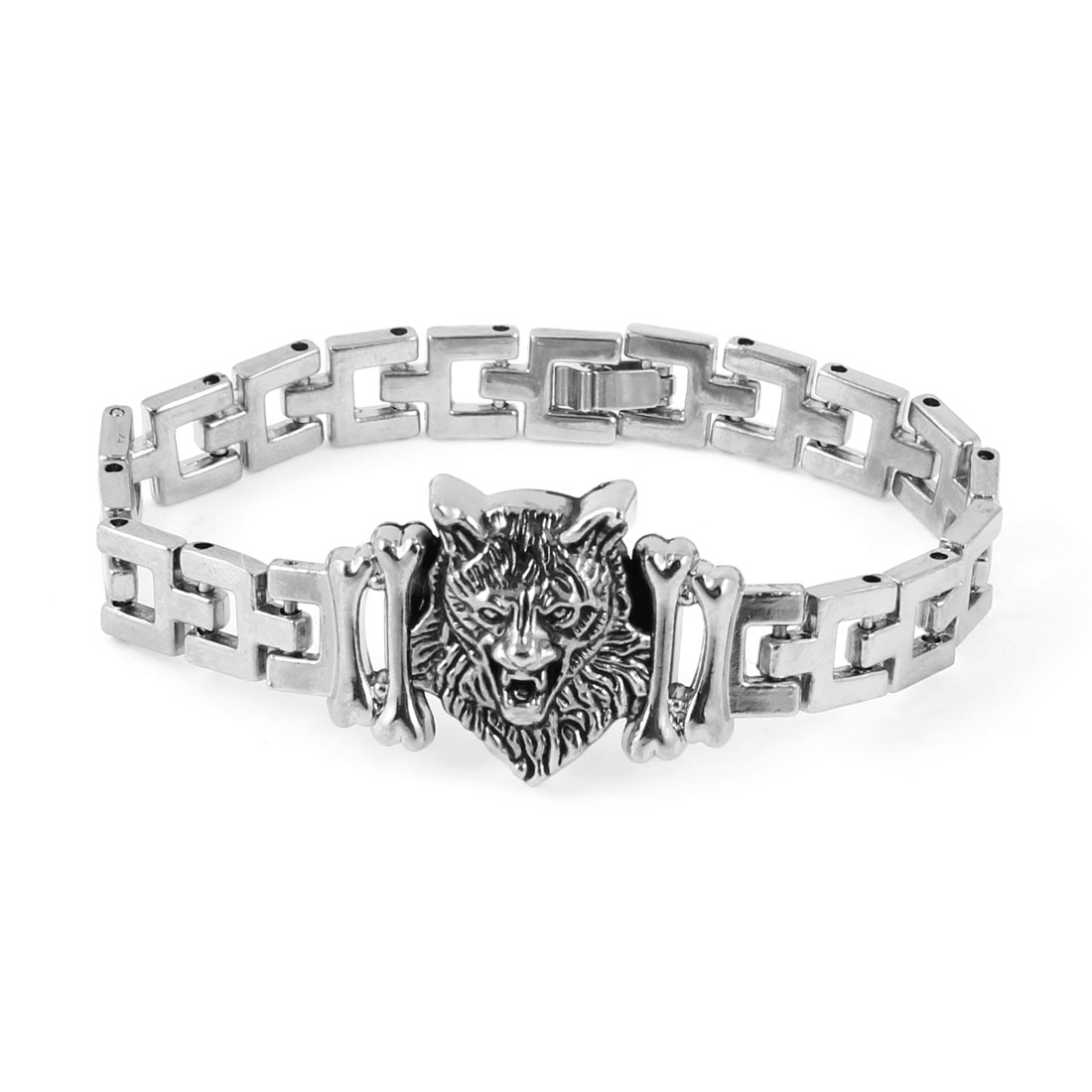 Men Silver Tone Metal Lion Head Design Decor Wrist Chain Bracelet