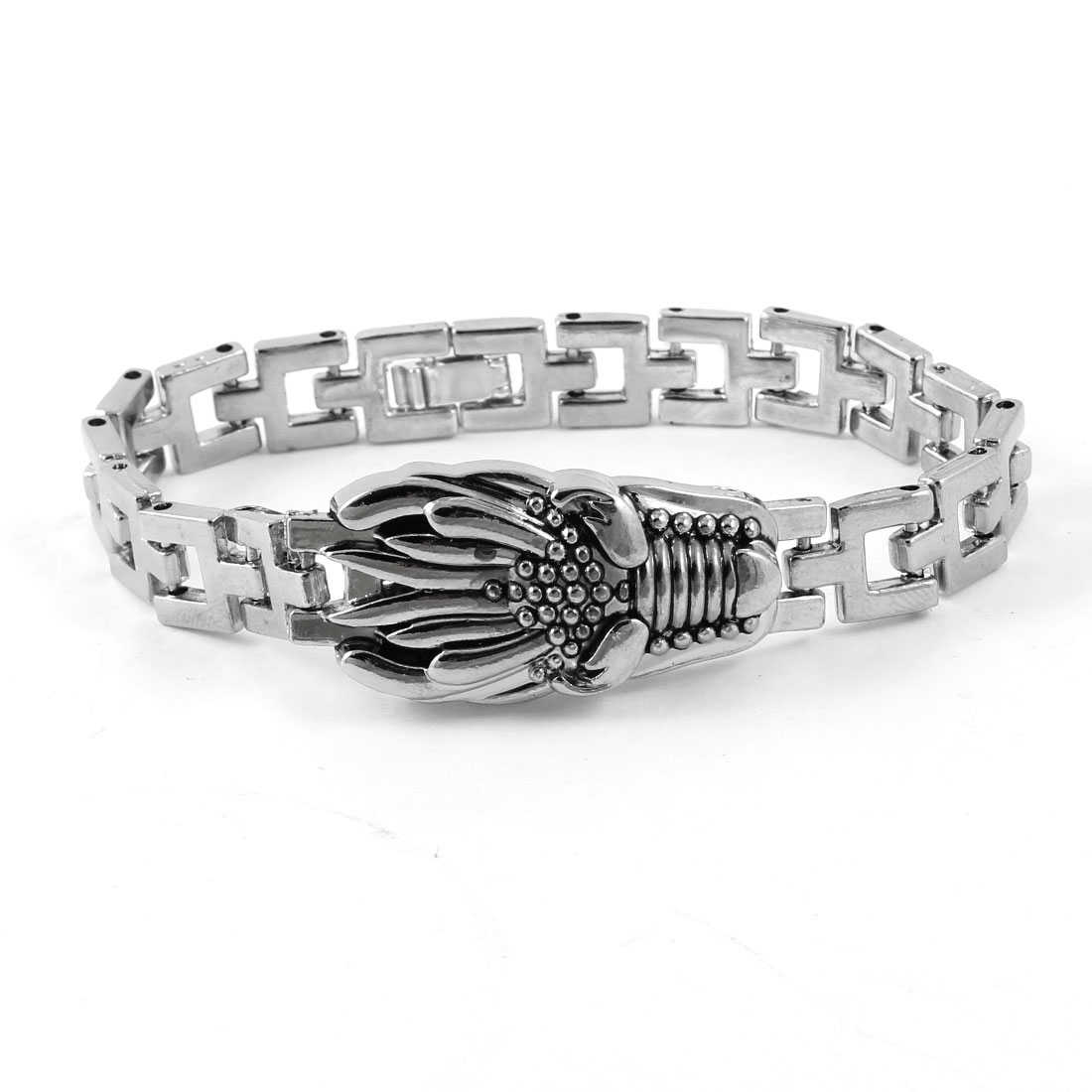 Men Silver Tone Dragon Head Decor Wrist Chain Bracelet