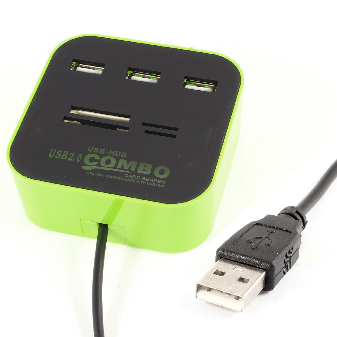 Micro SD TF SD Multi Memory Card Reader 3-Port USB 2.0 Hub Green Black