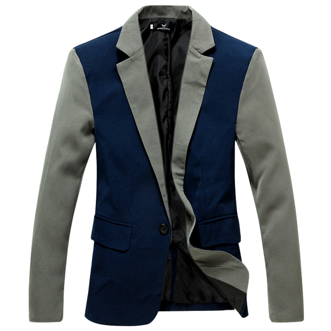 Men Long Sleeved Double Flap Pocket Dark Blue Blazer Jacket S