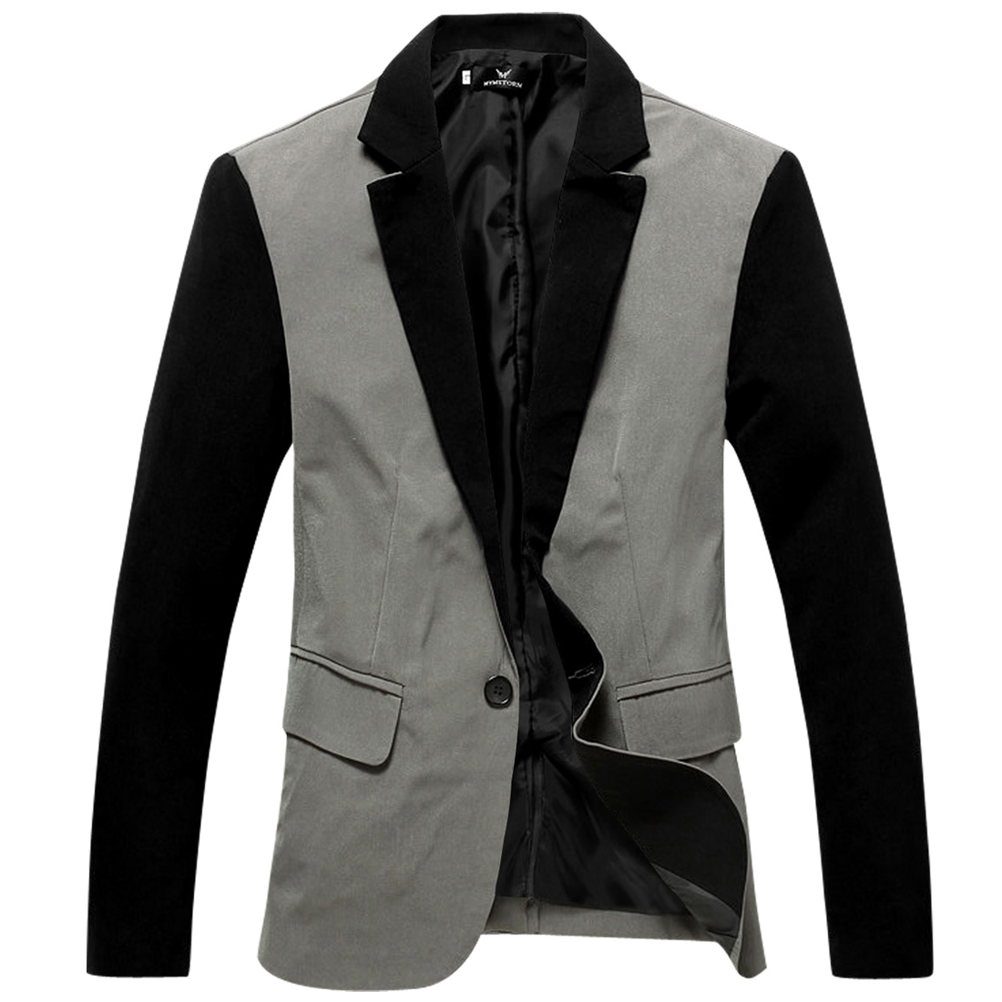 Men Button Up Long Sleeve Light Gray Casual Blazer Jacket S
