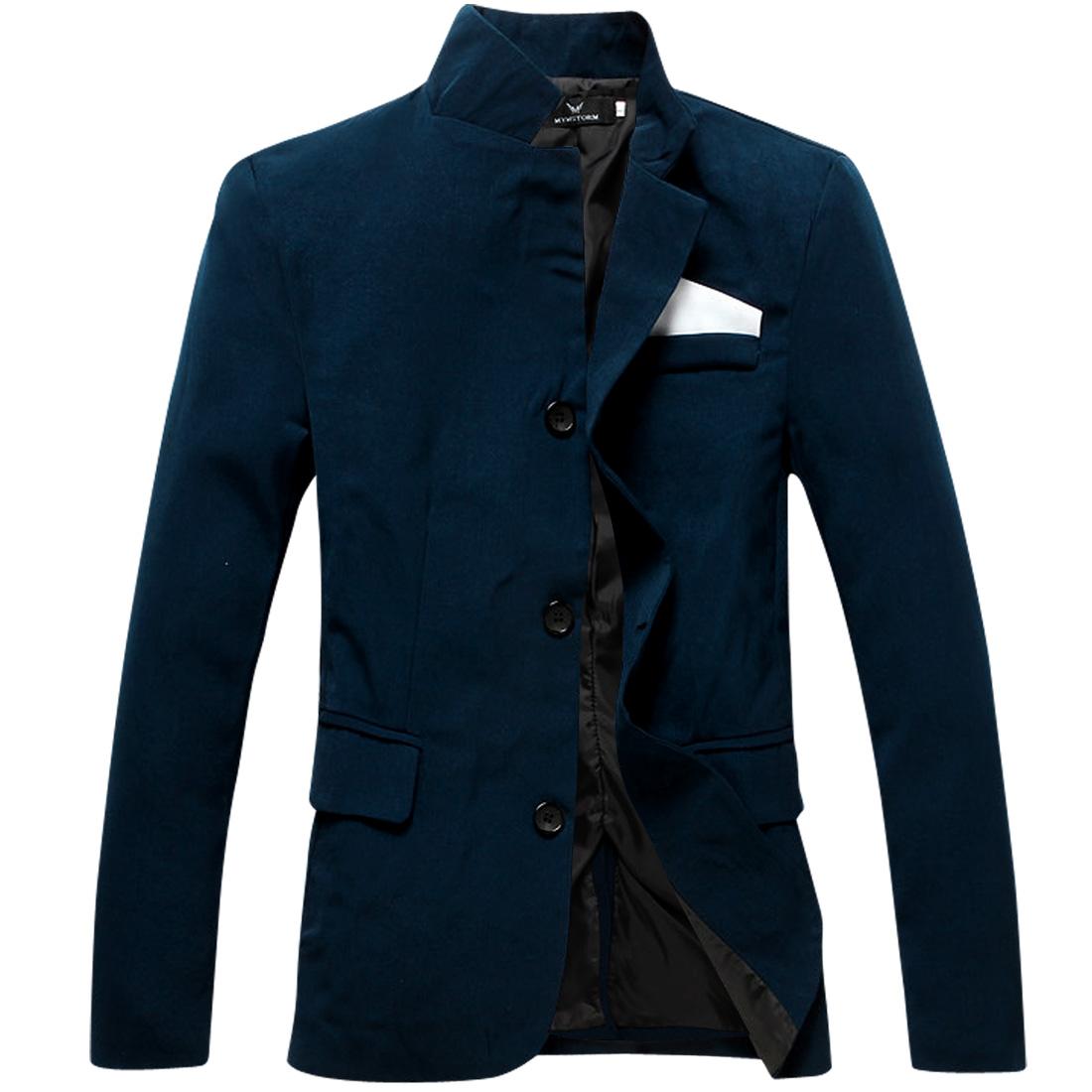 Men Long Sleeved Button Front Dark Blue Slim Blazer Jacket S