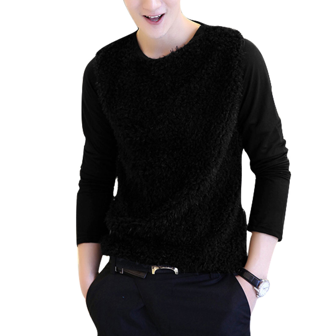 Man Black Long Sleeved Round Neck Patchwork Form-fitting Tee Shirt S