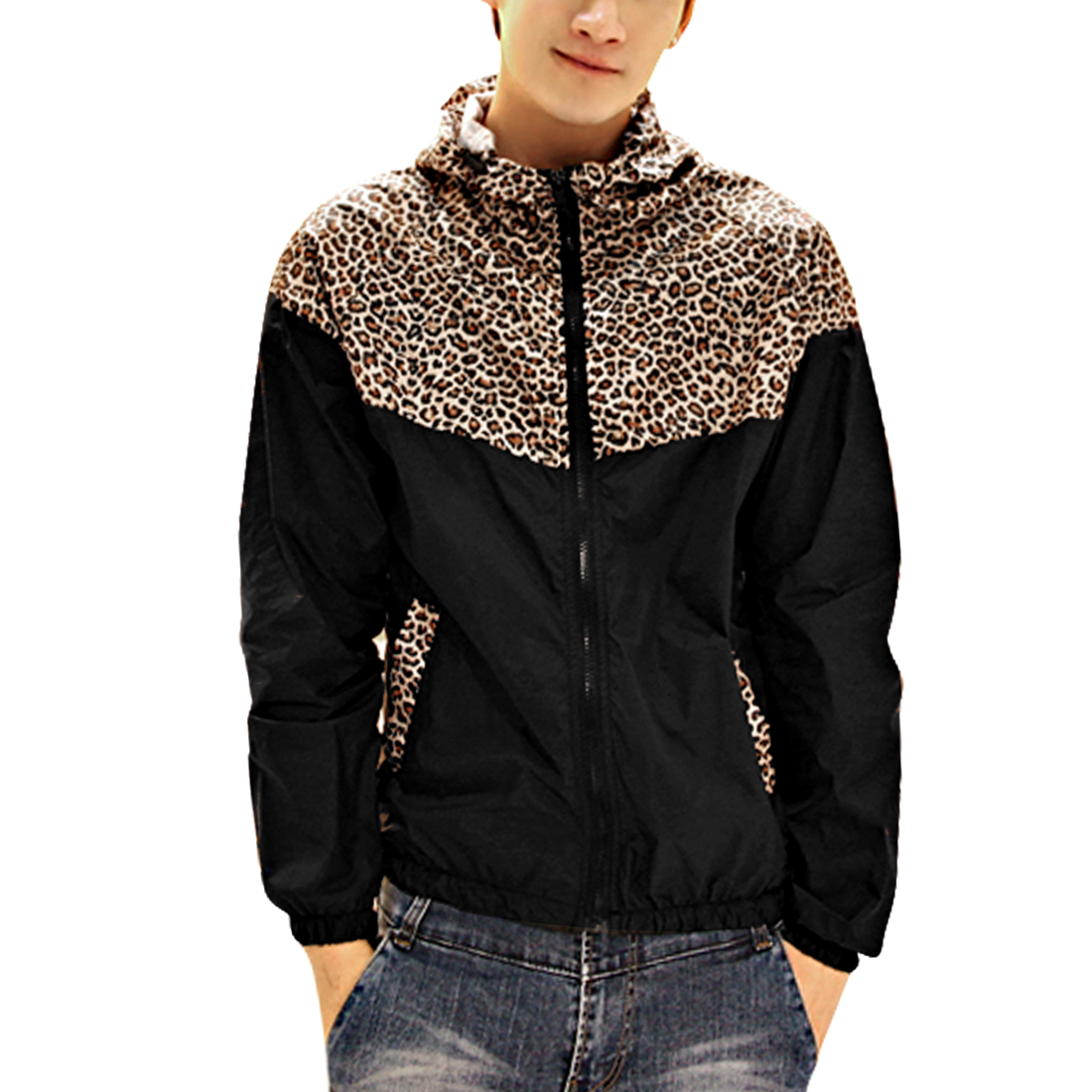 Men Long Sleeved Leopard Prints Zip Up Black Hooded Jacket M