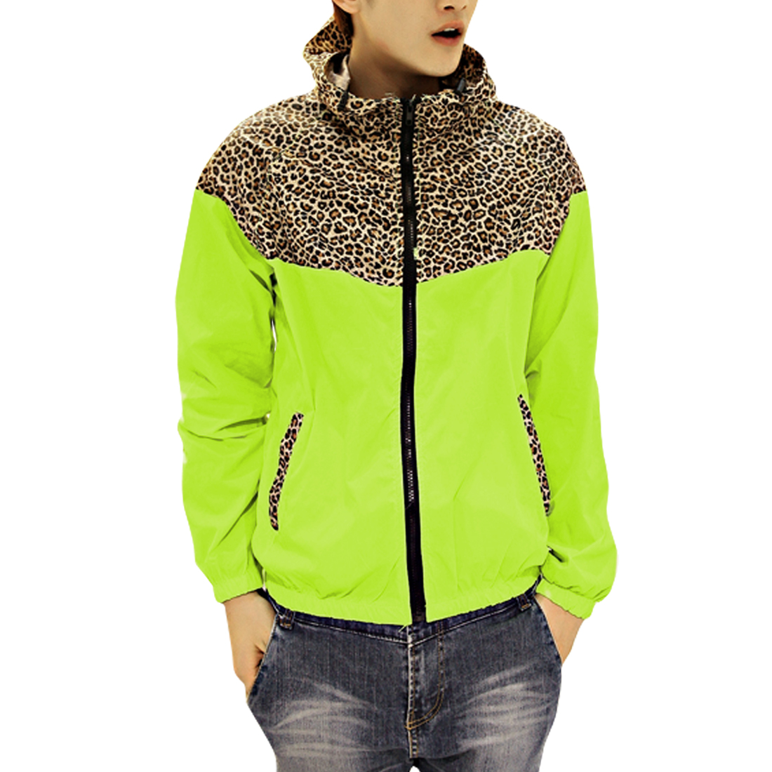 Men Leopard Prints Double Pocket Green Yellow Hooded Jacket M