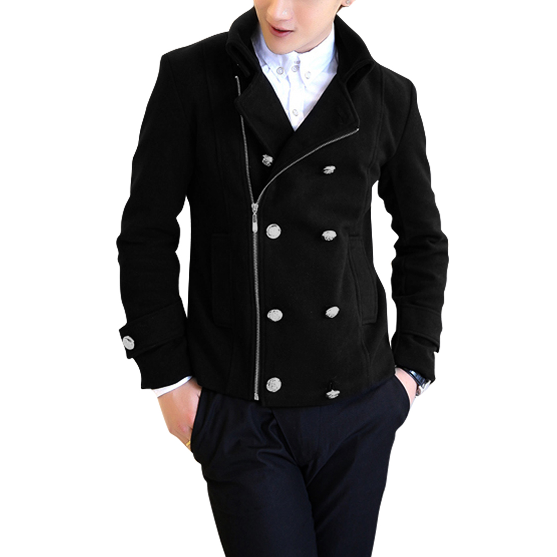 Men Double Breasted Inclined Zipper Black Worsted Overcoat S