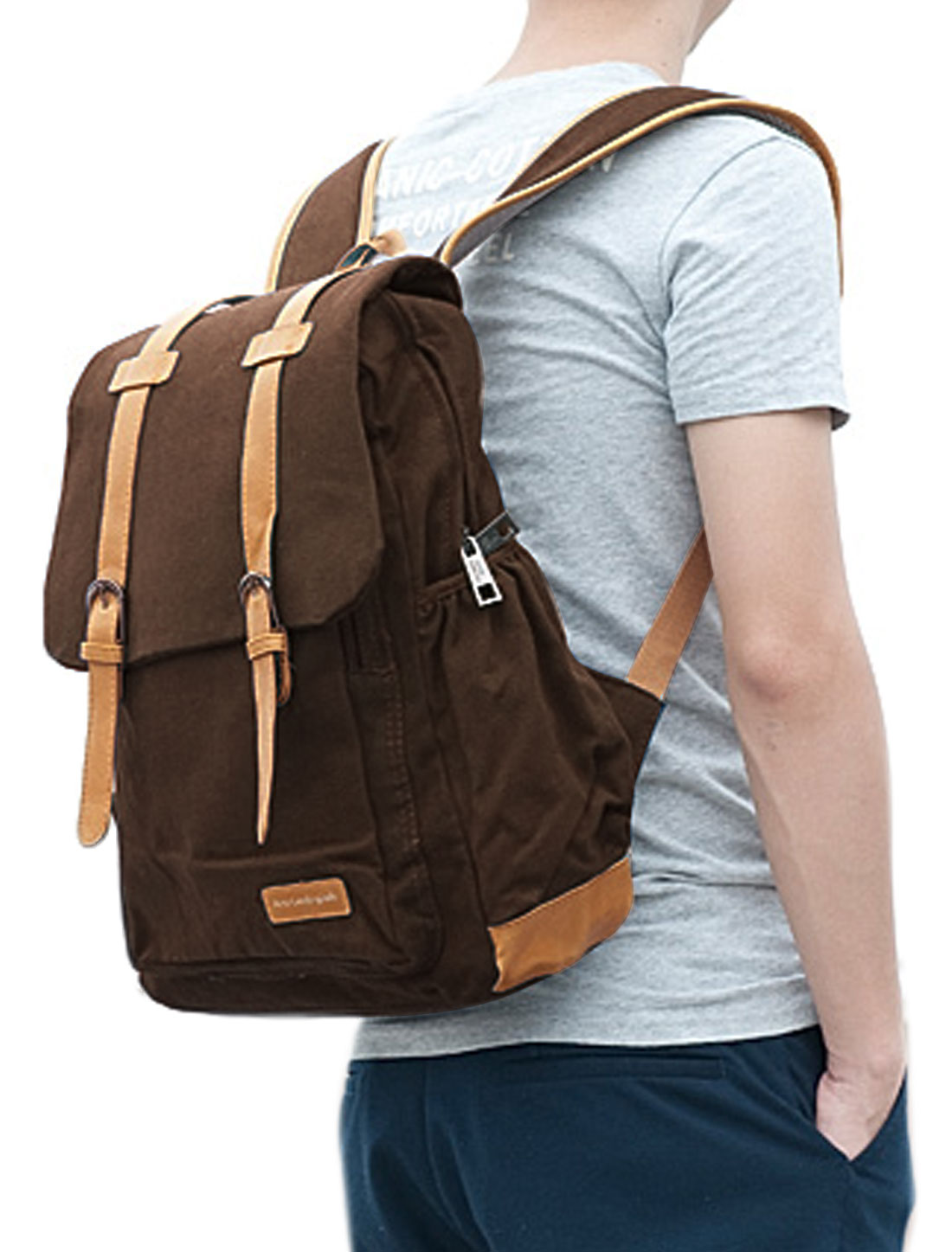 Man Fold Over Buckle Front Double Compartments Coffee Color Canvas Backpack