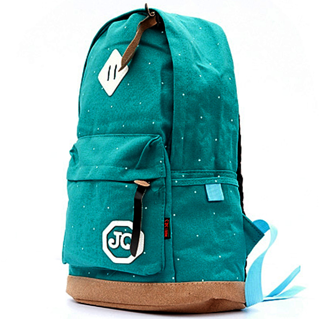 Men Dots Pattern Zip-Up Closure Dark Turquoise Canvas Backpack