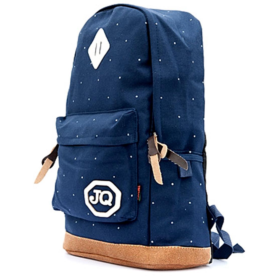 Men Letters Decor Two Sides Pocket Dark Blue Canvas Backpack