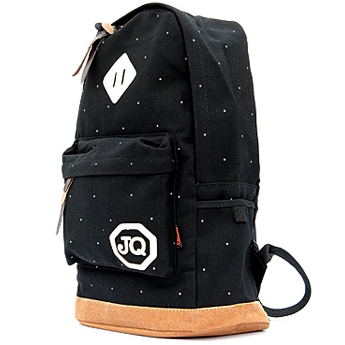 Men Zip-Up Closure Letters Decor Black Canvas Casual Backpack