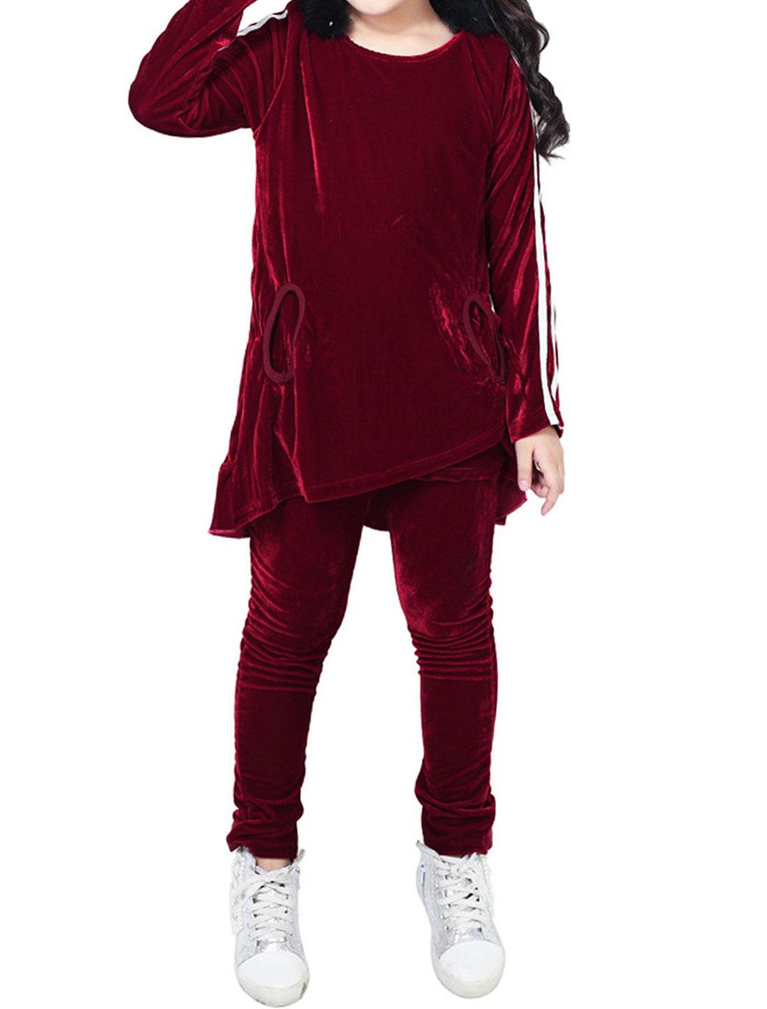 Girls Faux Fur Decor Long Sleeve Velvet Tunic Top w Pants Set Burgundy 6