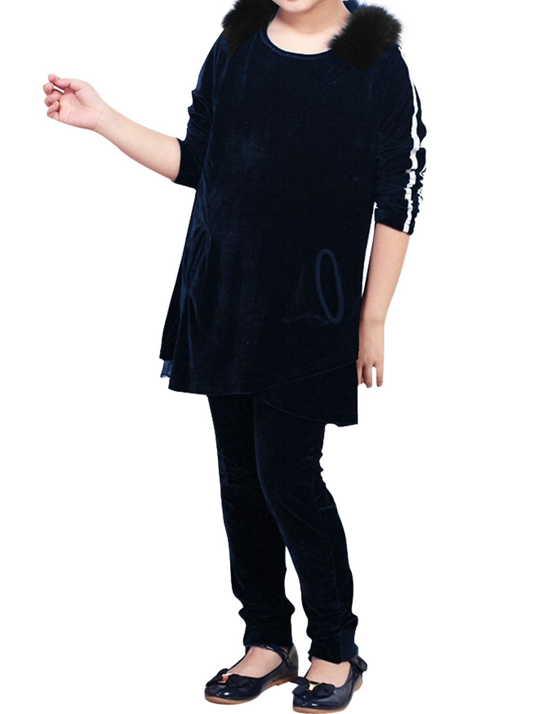 Fashion Dark Blue Faux Fur Decor Velvet Top w Pants Set for Girl 6X