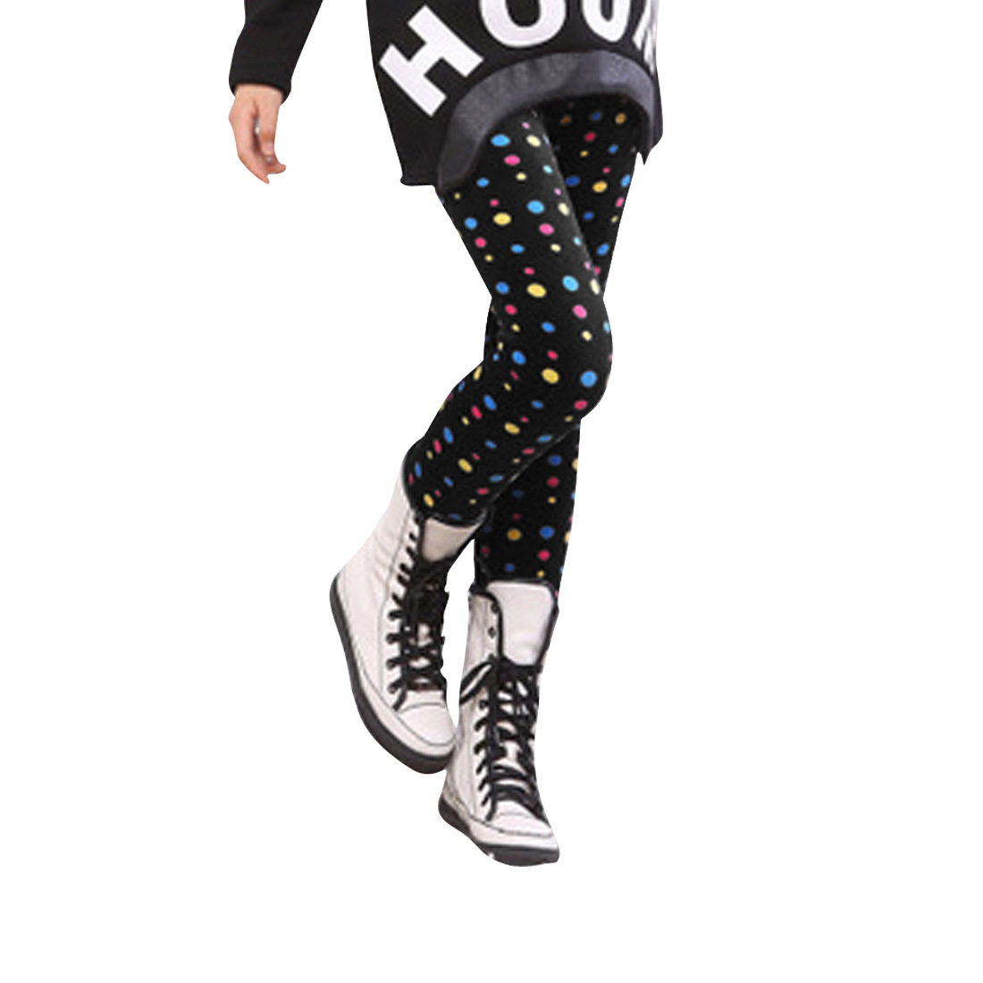 Girl NEW Style Multicolor Dots Pattern Black Thick Leggings 6