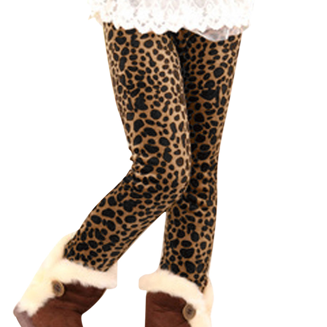 Girls Pants Leggings Coffee Leopard Prints Child Clothes 4T