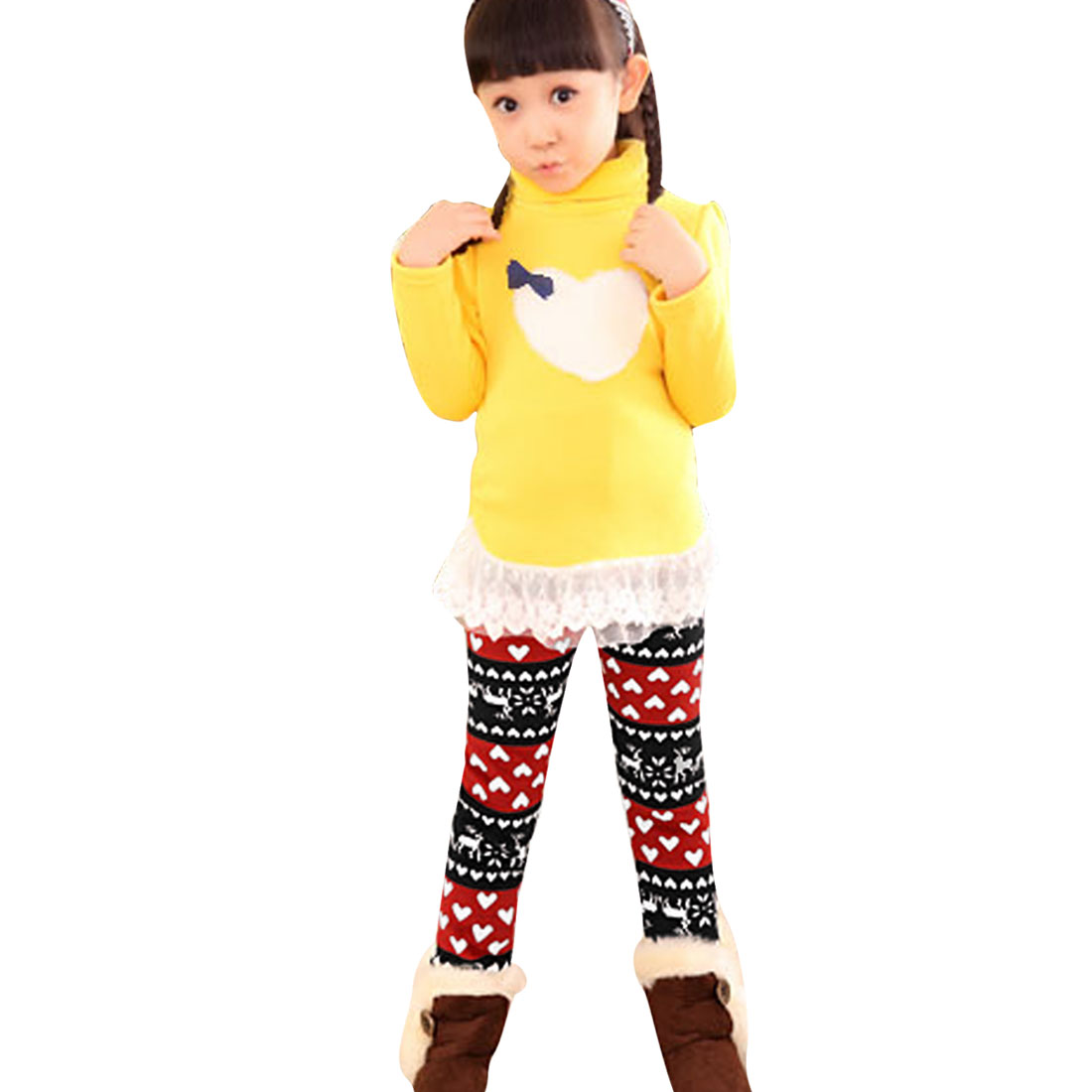 Girls Snowflake Pattern Contrast Color Leggings Red Black 4T