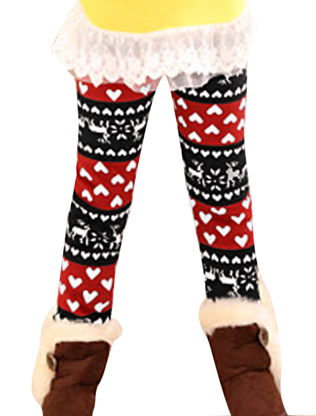 Color Contrast Snowflake Pattern Girls Red Black Leggings 6
