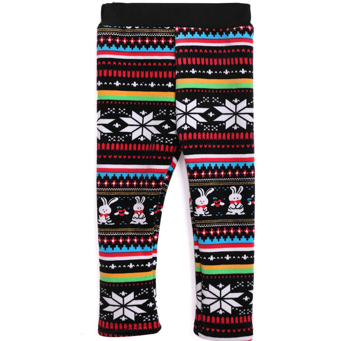 Elastic Waist Fleece Lining Autumn Leggings for Girls Multicolor 7