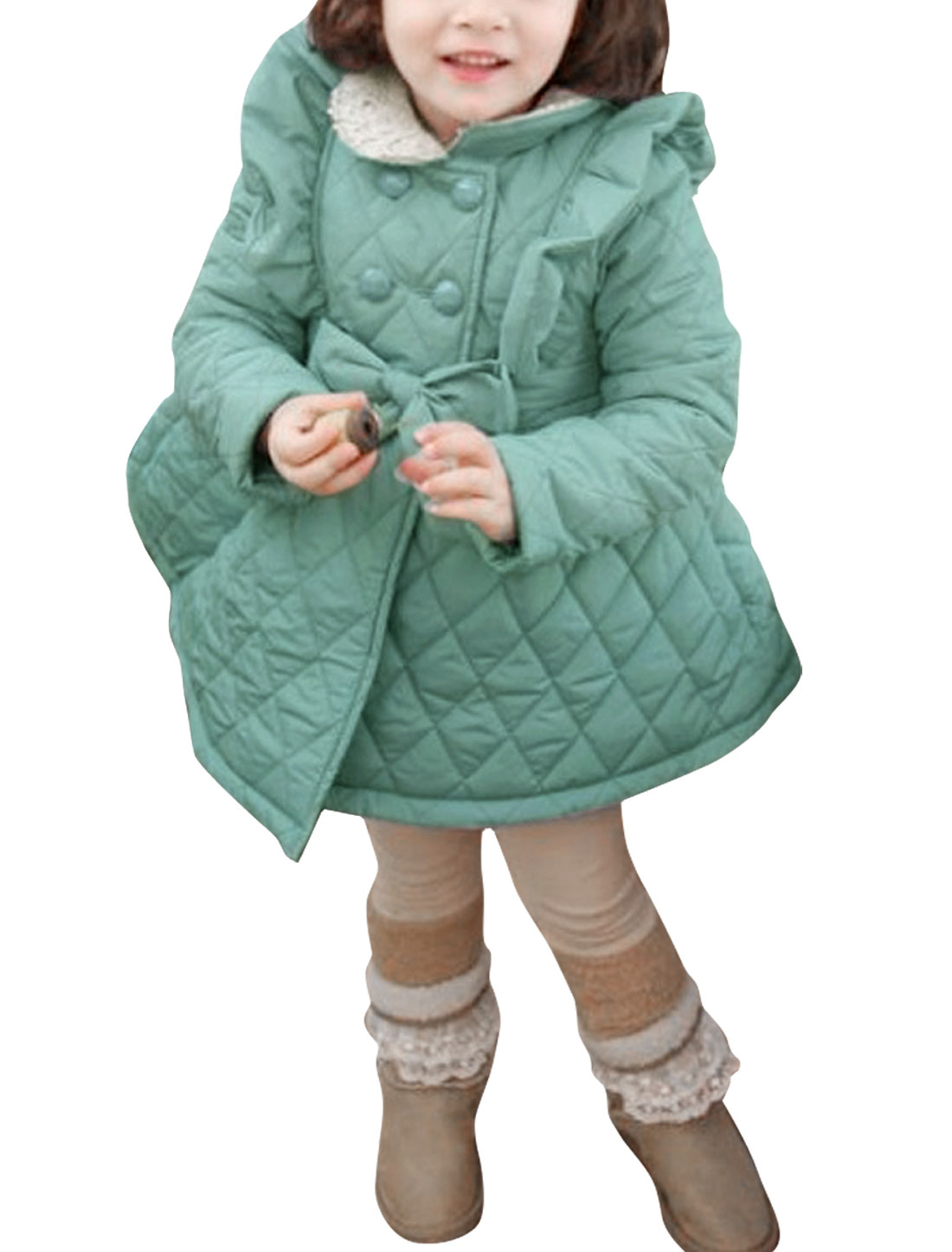 Lovely Ruffled Front Double-Breasted Style Pale Green Padded Coat for Girl 4T