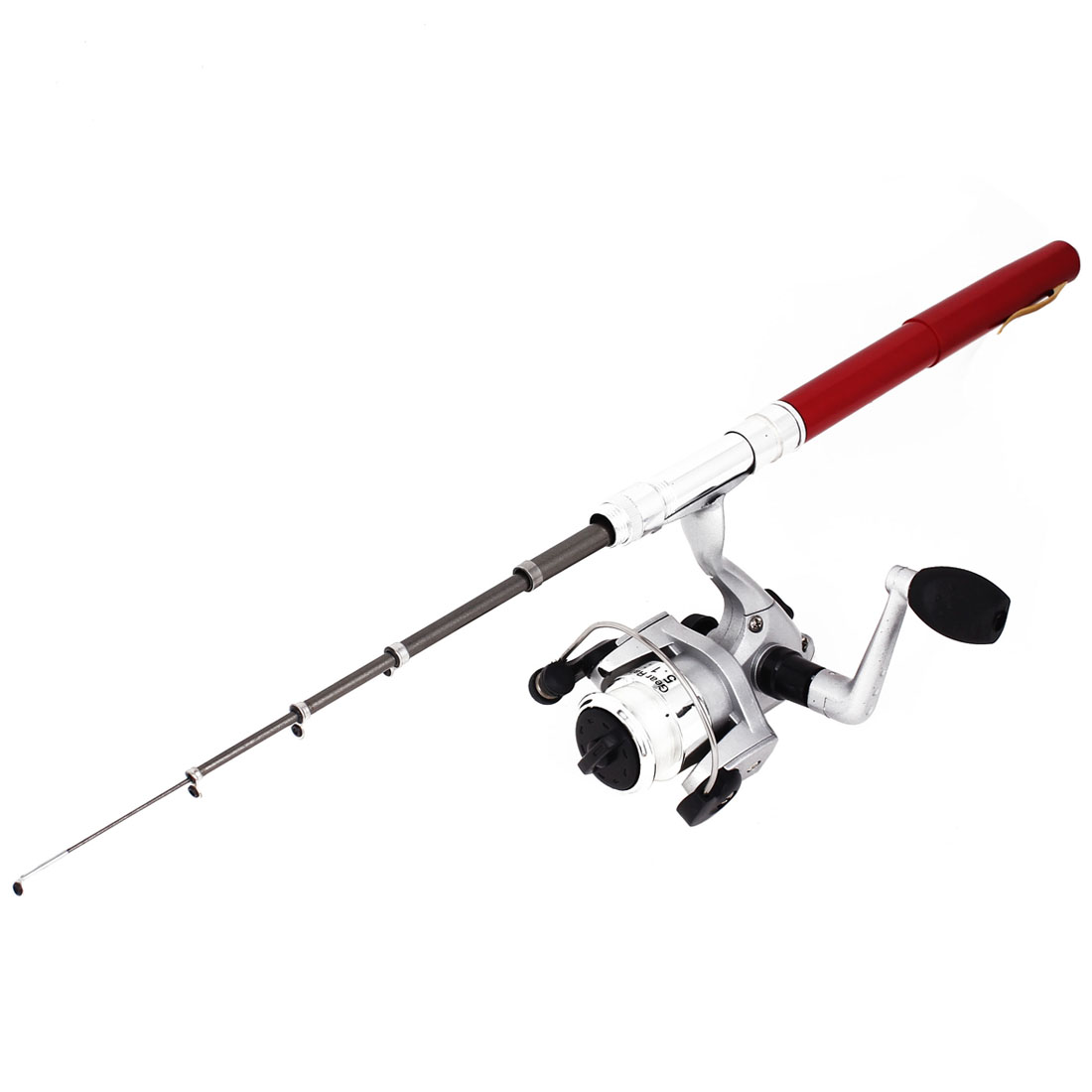 Portable Fish Tackle Red Pen Shape Fishing Rod 100cm Long w Spinning Reel