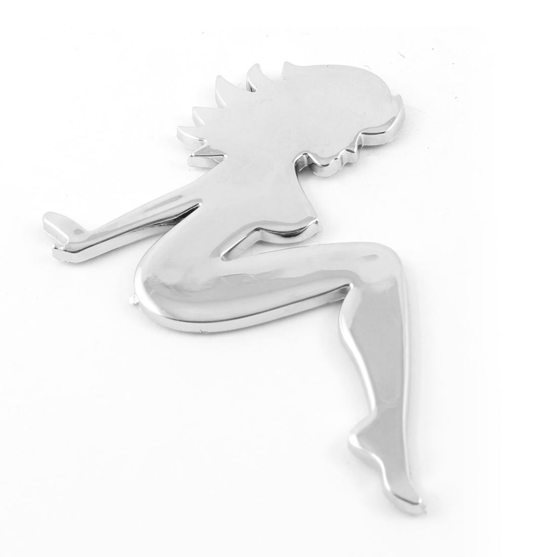 Silver Tone Alloy 3D Lady Badge Emblem Sticker for Car Motorbike