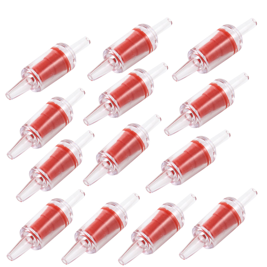 13 Pcs Red Clear Plastic One Way Non-return Check Valves for Fish Tank Aquarium