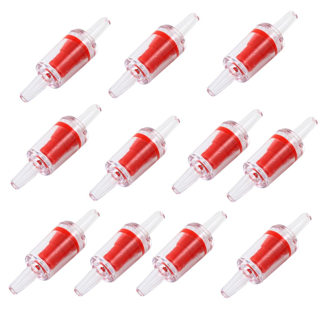 Aquarium Air Pump Co2 Diffuser Red Plastic One Way Check Valves 11 Pcs