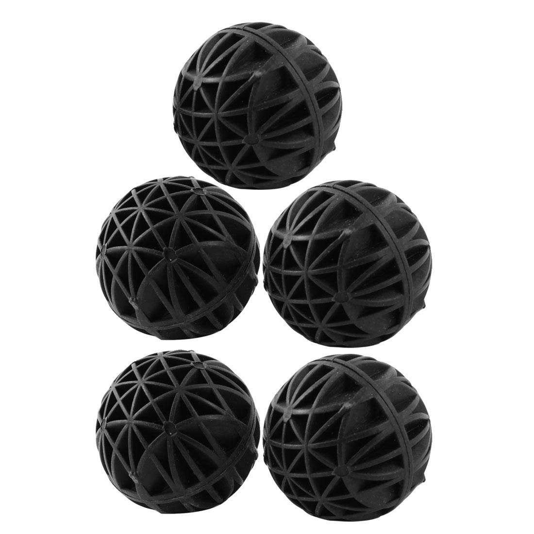 5 Pcs 36mm Bio Balls Filter Media Sponge Inner Black for Fish Tank Koi Pond