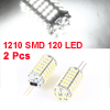 2 Pcs Vertical Pin G4 1210 SMD 120 LED Bulb White Light for Car