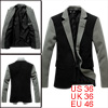 Men Notched Lapel One Button Front Black Blazer Jacket S