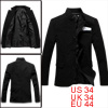 Men Single Breasted Stand Collar Black Casual Blazer Jacket S