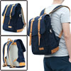 Zip-Up Closure Double Compartment Dark Blue Canvas Backpack for Man