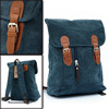 Man Adjust Padded Shoulder Strap Flap Closure Blue Backpack