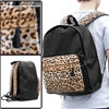 Men Leopard Pattern Plush Patchwork Black Imitation Leather Backpack
