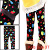 Black Hearts Pattern Stretchy Slim Fit Girls Leggings 3T