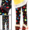Girls Black Strawberrys Pattern Slim Fit Warm Leggings 6