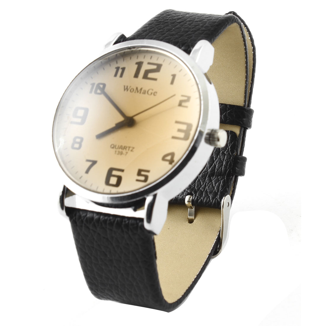 Men Retro Style Bronze Tone Arabic Number Dial Quartz Wrist Watch Black