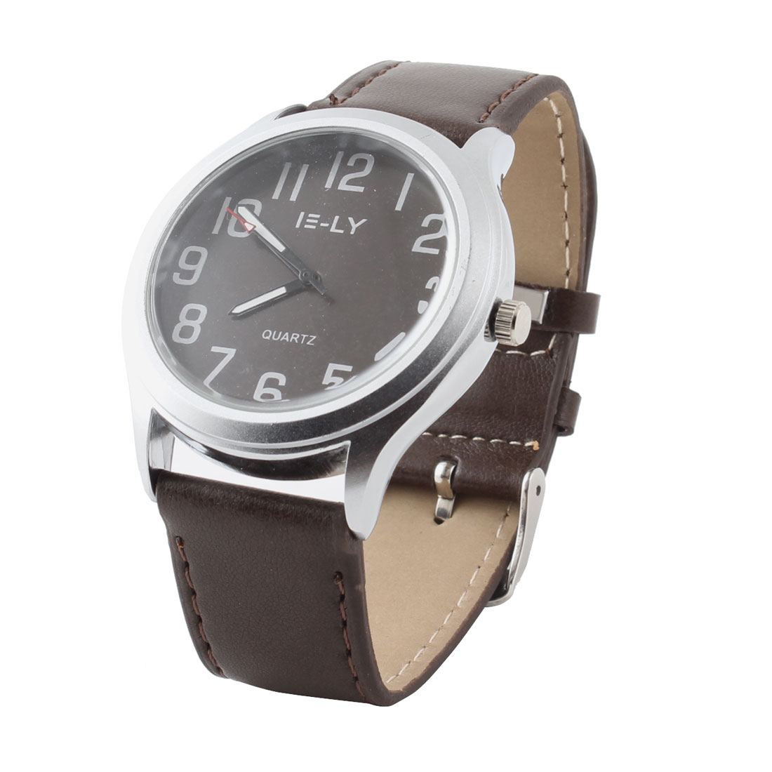 Man Retro Style Silver Tone Arabic Number Dial Quartz Wrist Watch Brown