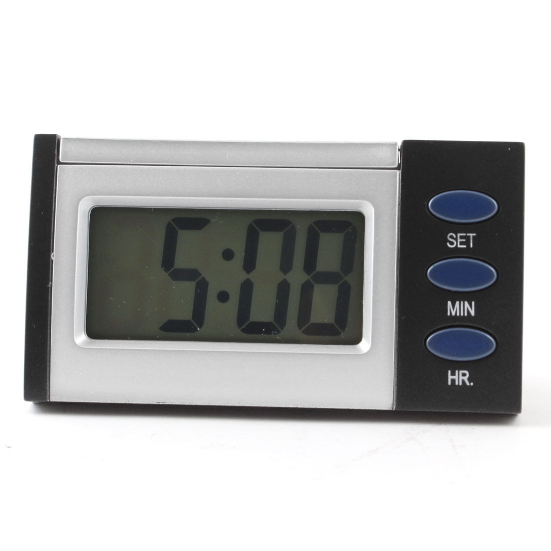 Time Date 3 Button Blue Backlight LCD Digital Clock Silver Tone Black
