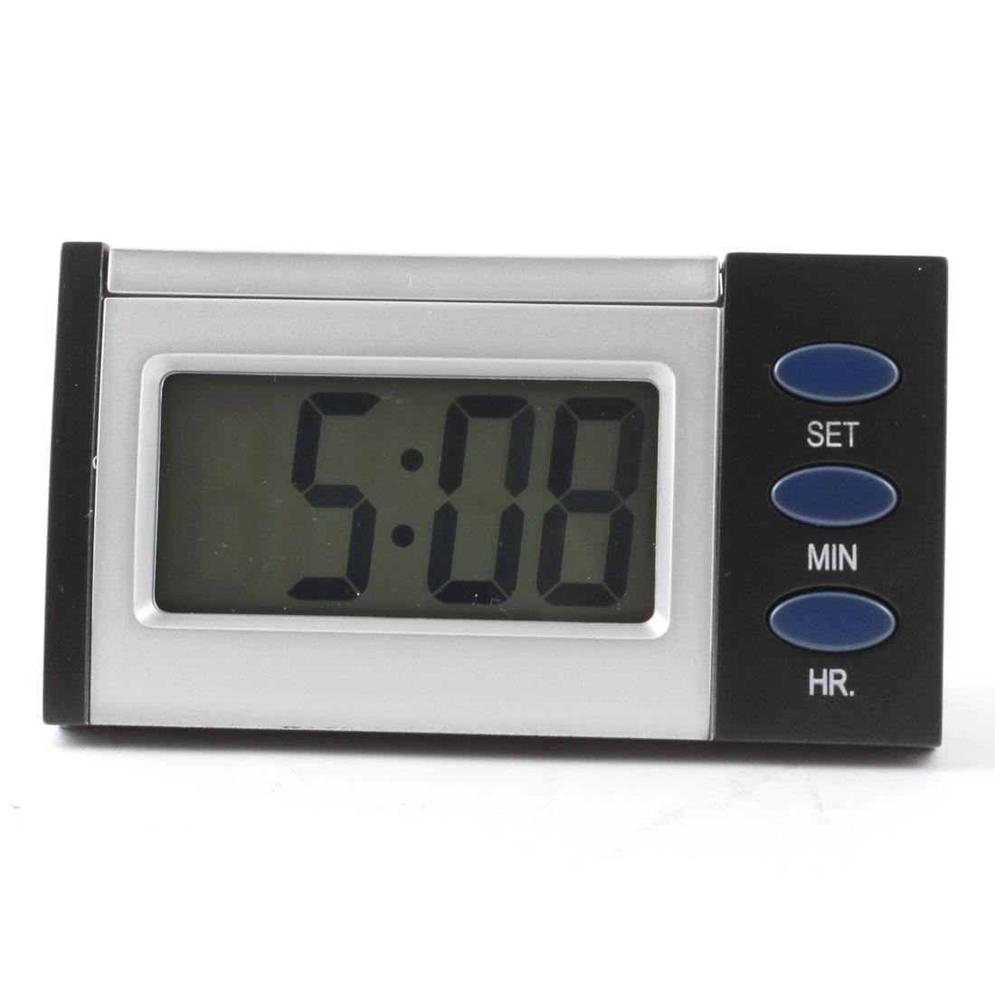 Time Date 3 Button Blue Backlight LCD Digital Clock Silver Tone Black